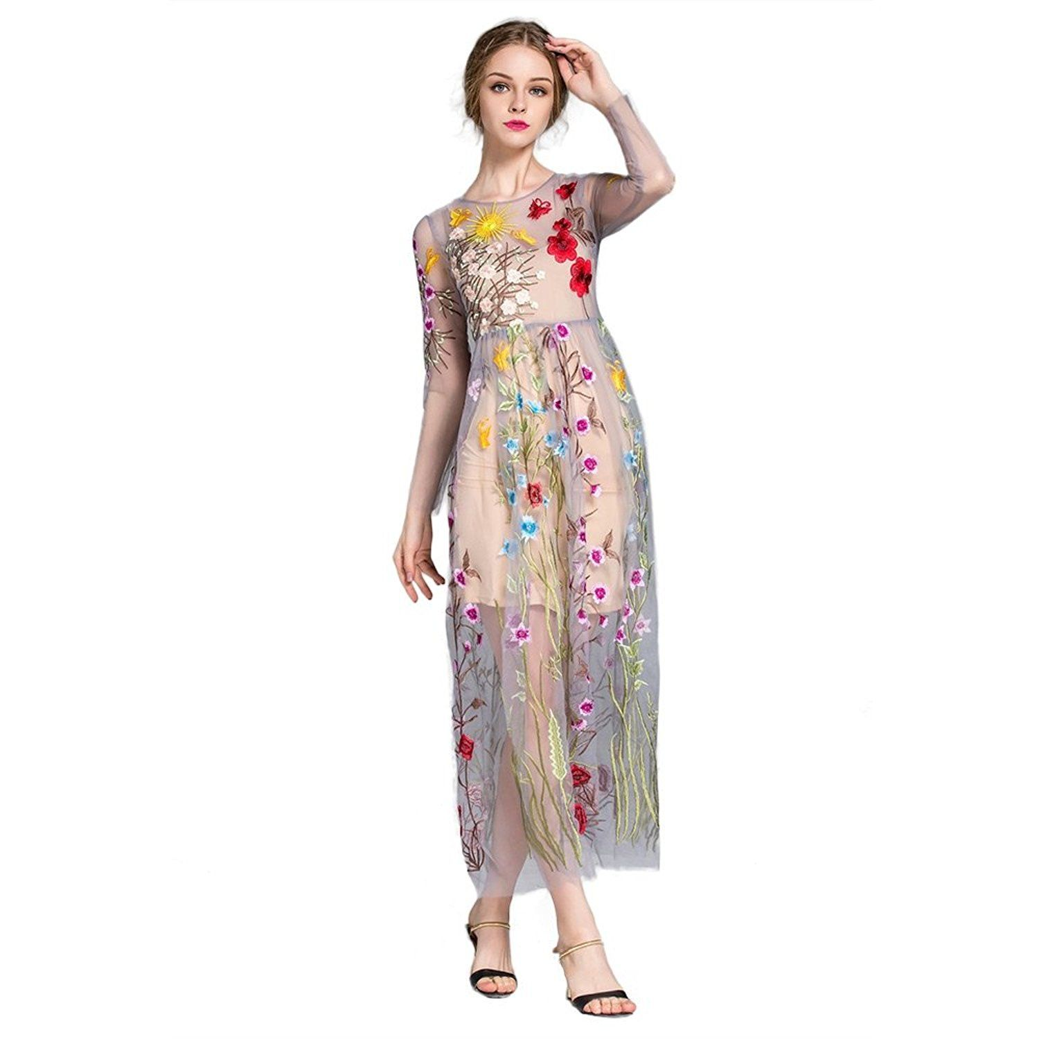 Dezzal womenus floral embroidered tulle prom maxi dress with cami