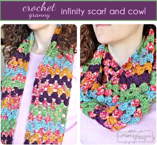 Crochet Granny Infinity Scarf and Cowl - Free Crochet Pattern ...