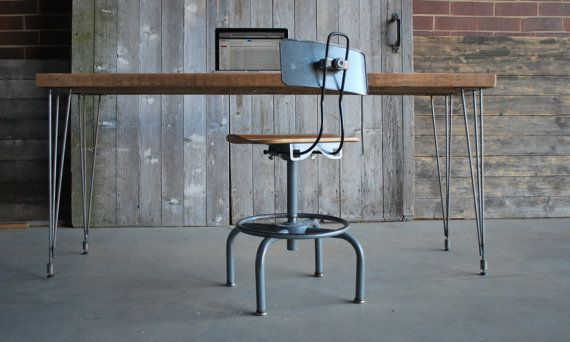 Reclaimed Small Wood Desk With Steel Hairpin Legs With 2 Drawers