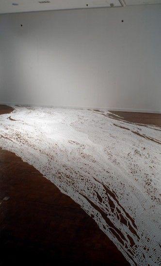 Yamamoto Motoi creates monumental but ephemeral artworks from salt. After the exhibit, the artwork is swept away.