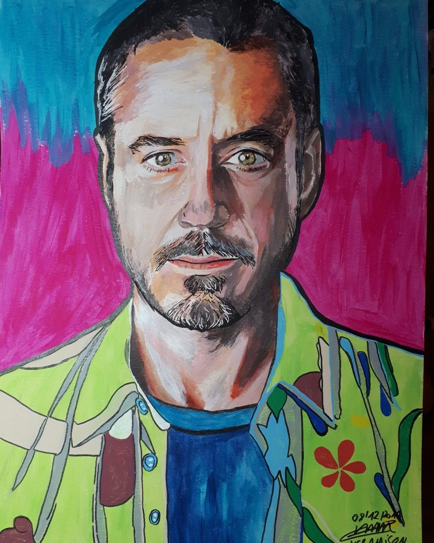 Robert Downey Jr Acrylique Papier Aquarelle Format A3 By Creer Laura