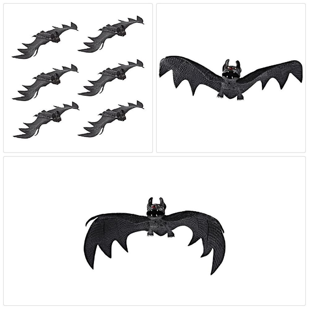 details about set of 6 realistic looking spooky hanging bats for