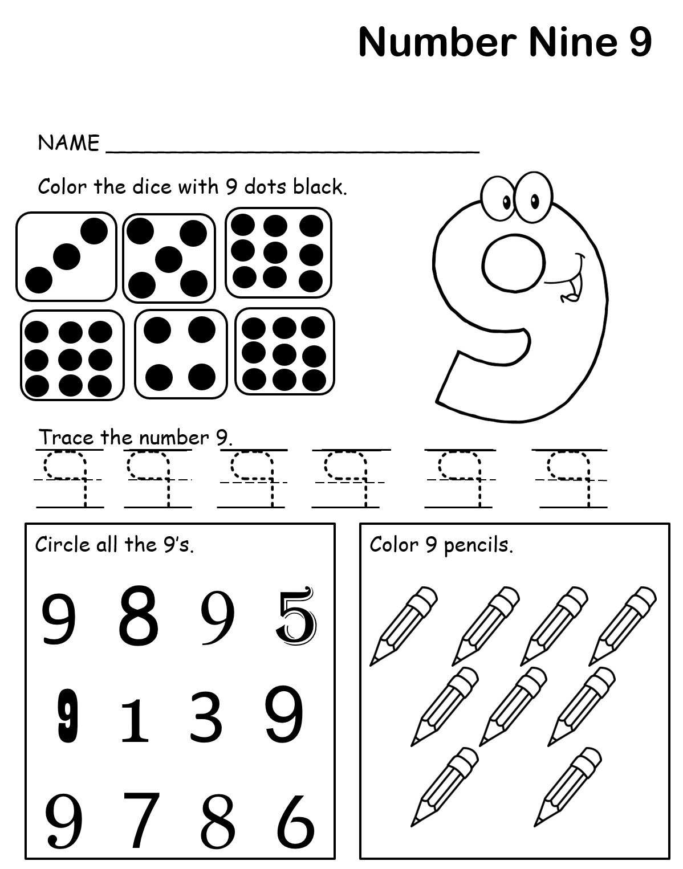 Kindergarten Worksheet Learning Number 9 Numbers Preschool Learning Numbers Preschool Lesson Plans