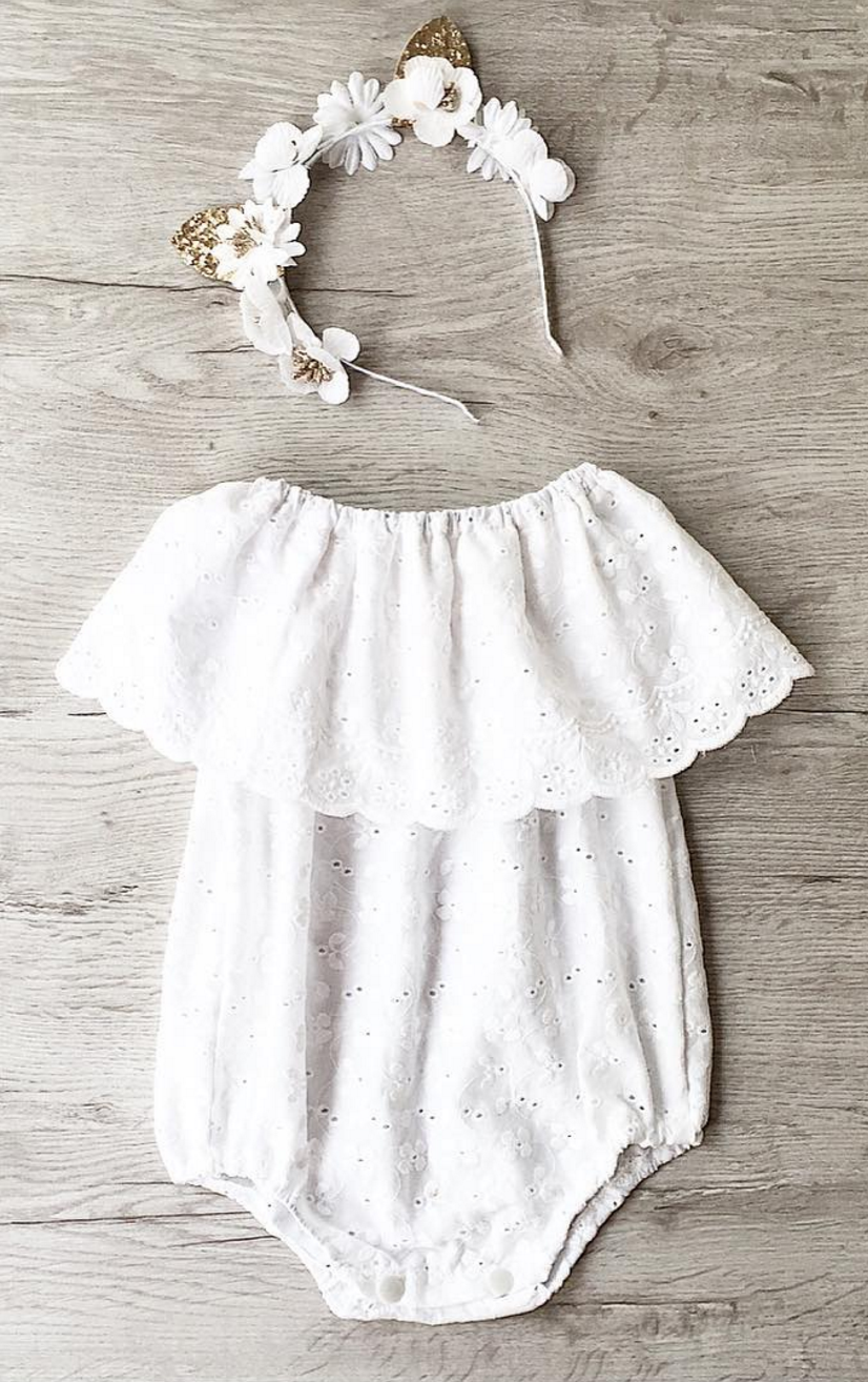 Belle Eyelet Baby Romper | MissLylaBoutique on Etsy | baby ideas ...