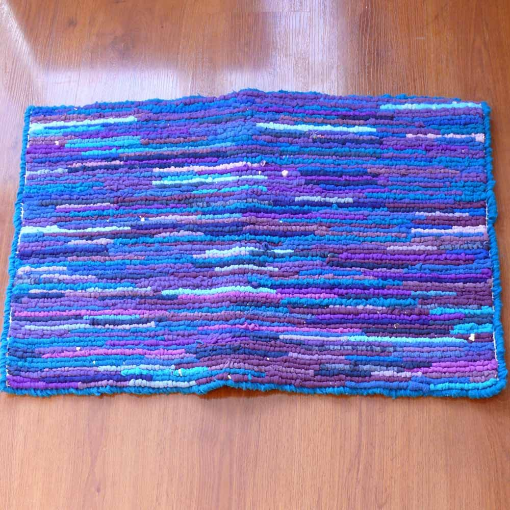 Purple Blue Recycled Locker Hooked Throw Rug