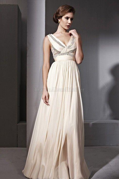 Klassisches V-Ausschnitt normale Taille Abendkleid mit Rücken ...