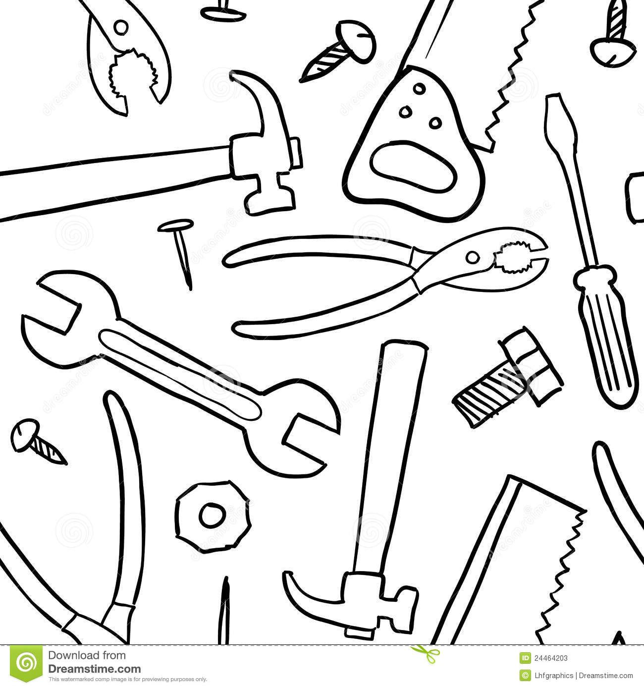 Online coloring tools - Seamless Tools Vector Background
