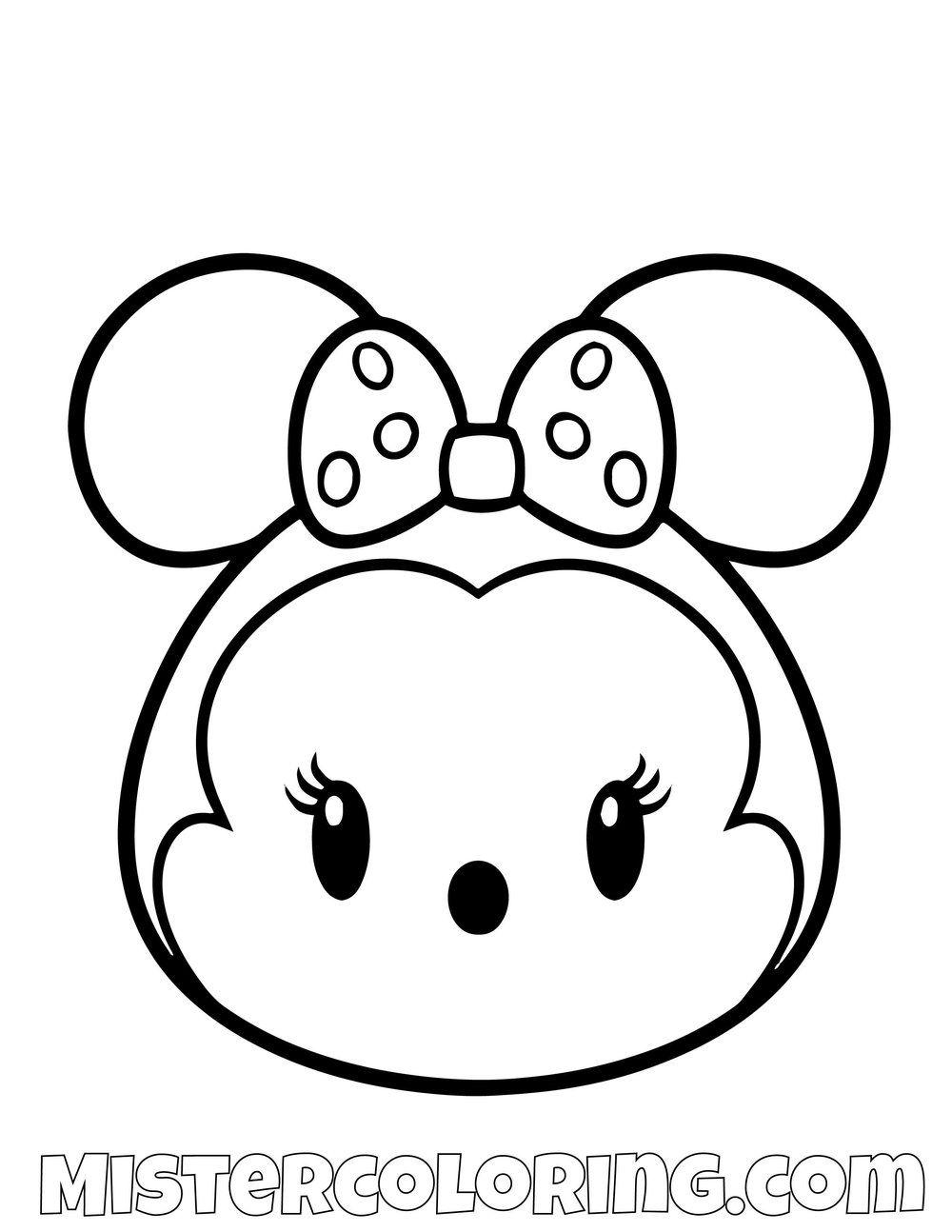 Minnie Mouse From Mickey Mouse Tsum Tsum Coloring Pages For Kids Lustige Malvorlagen Ausmalbilder Malvorlagen