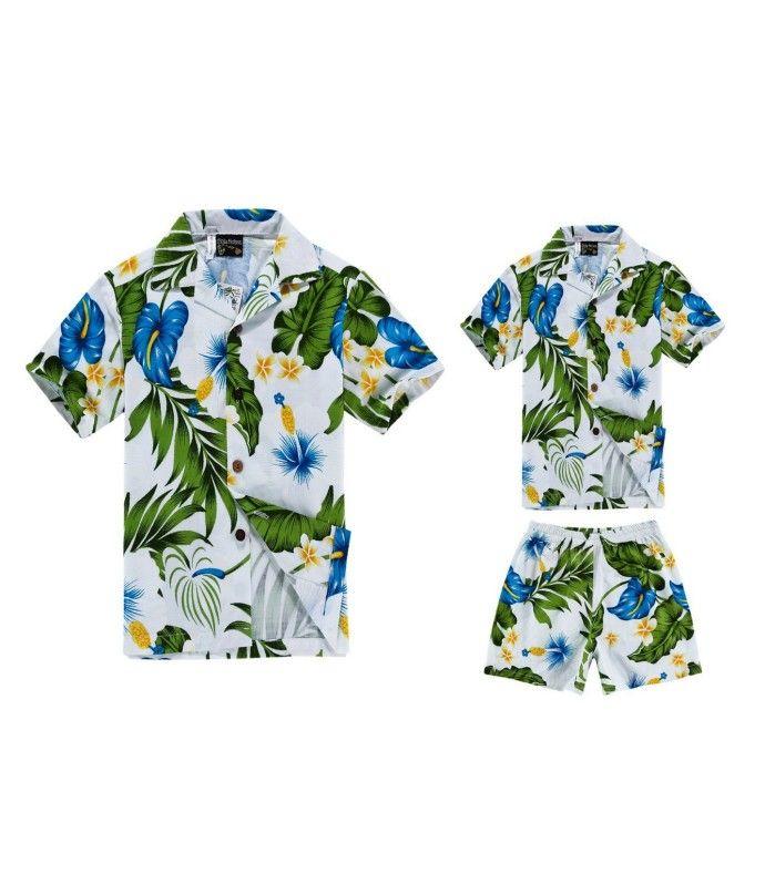 Matching Father Son Hawaiian Luau Outfit Men Shirt Boy Shirt Shorts White with Blue Hibiscus