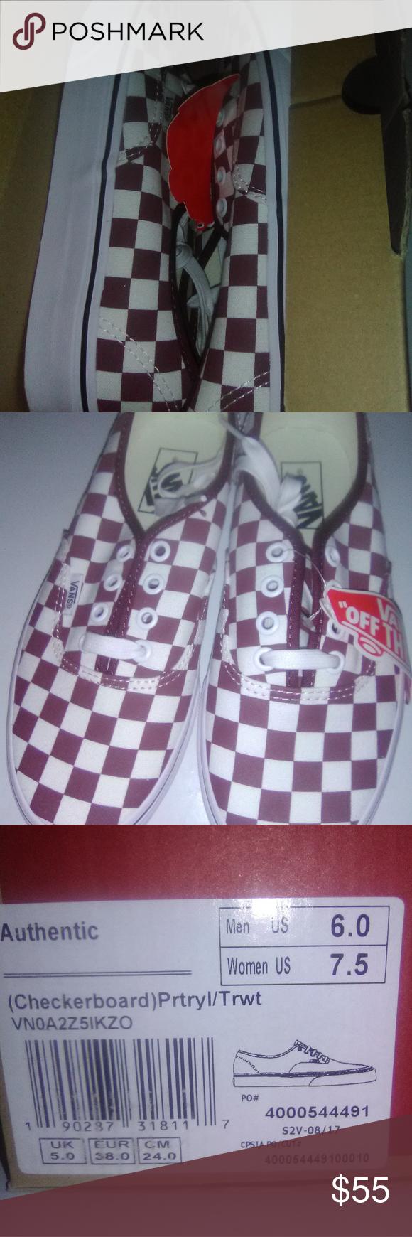 burgundy and white checkerboard vans