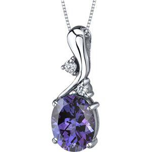 Simulated alexandrite pendant necklace sterling silver 350 carats simulated alexandrite pendant necklace sterling silver 350 carats oval shape aloadofball Choice Image