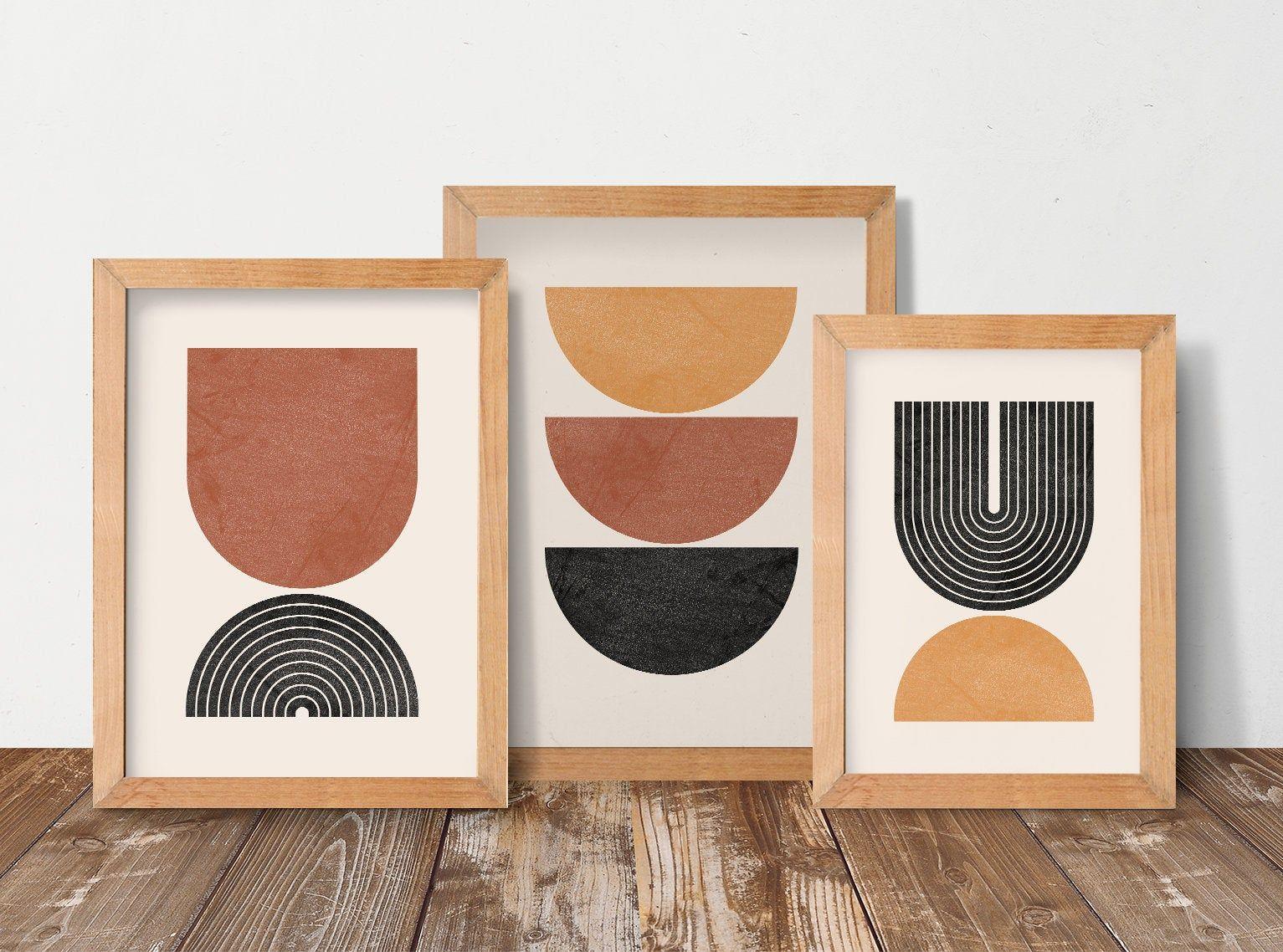 Geometric art print set of 3 mid century modern art