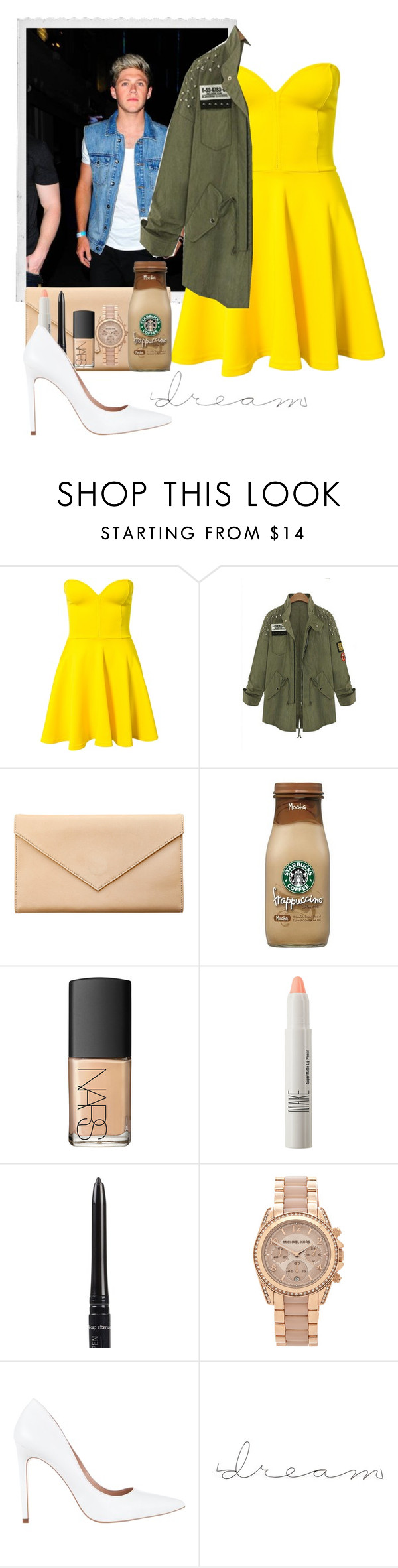 """dinner with niall"" by jahzariah-allen ❤ liked on Polyvore featuring Polaroid, Club L, Carré Royal, NARS Cosmetics, Make, Isadora, Michael Kors and Diavolina"