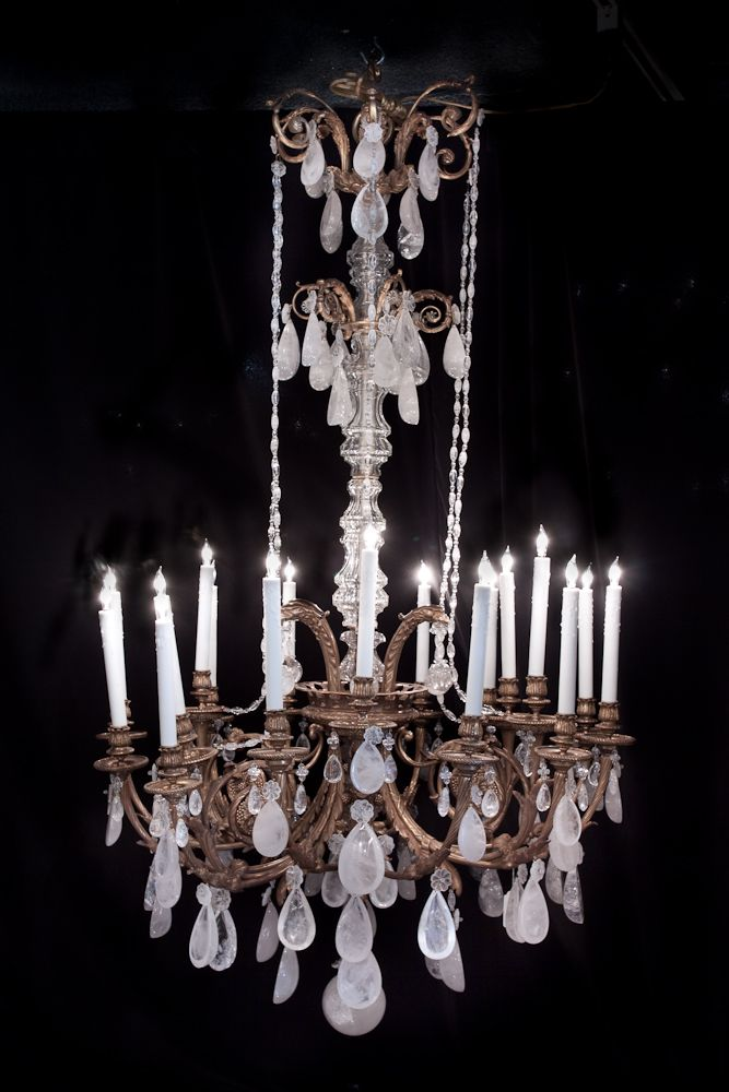 French Louis XVI style dore bronze and rock crystal chandelier. - LA-5272 70''H 41''Diam French Louis XVI Style Dore Bronze And Rock