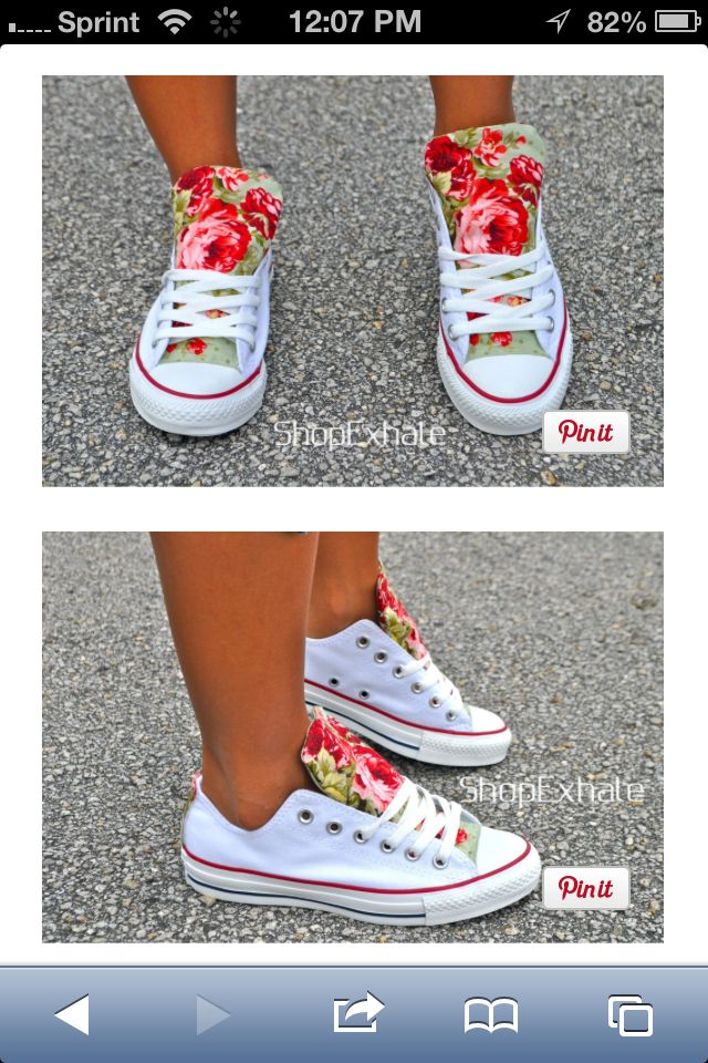 1992480ce036 White low top converse with floral tongue