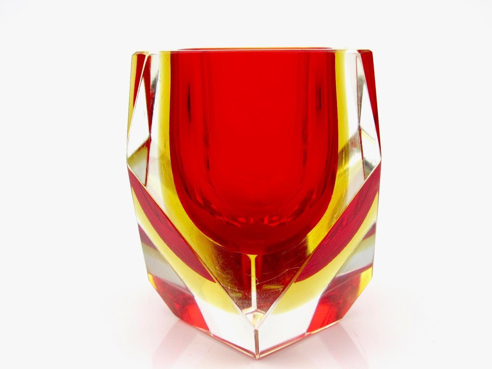 Murano Sommerso Rosso Ambra Art Glass Blocco Multi Ciotola Sfaccettata Mandruzzato Ebay Stemless Wine Glass Wine Glass Glass