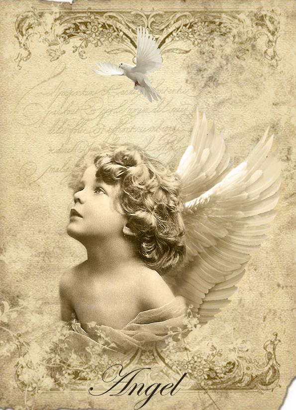 Vintage angel Digital collage p1022 Free for personal  use <3
