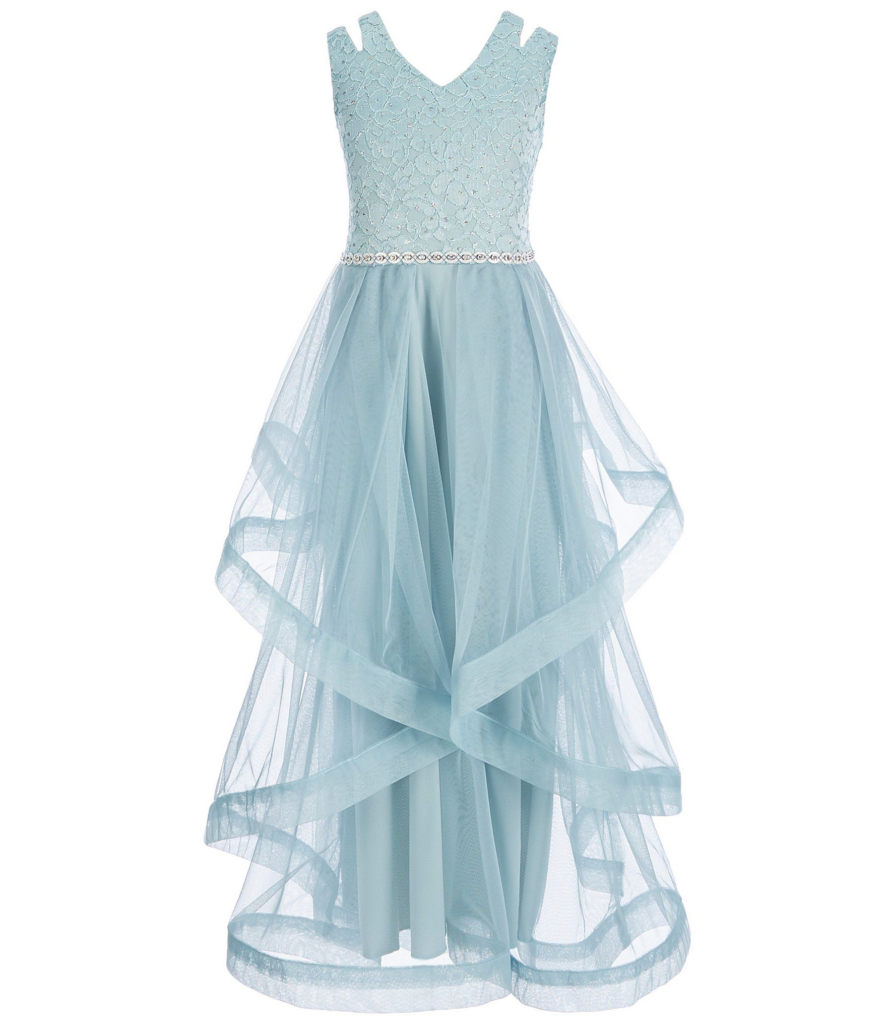 Xtraordinary big girls glitterlacetulle long dress dillards