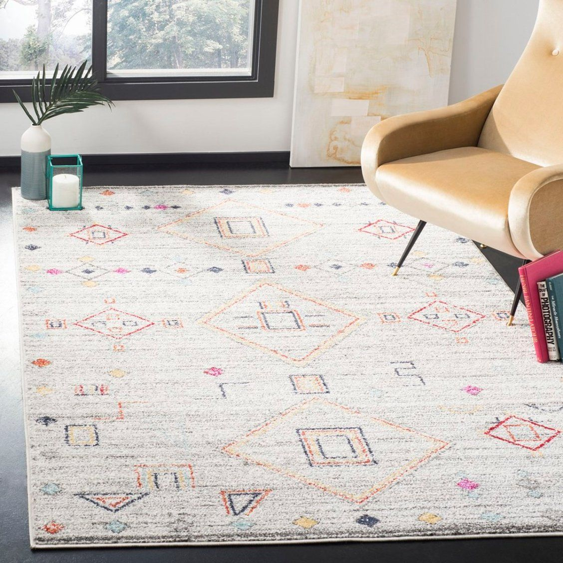 Inspired By Global Travel And The Bold Colorful Motifs Adorning Fashionable Ski Chalets Safavieh Translates Rustic Lodge Red Area Rug Light Grey Rug Red Rugs