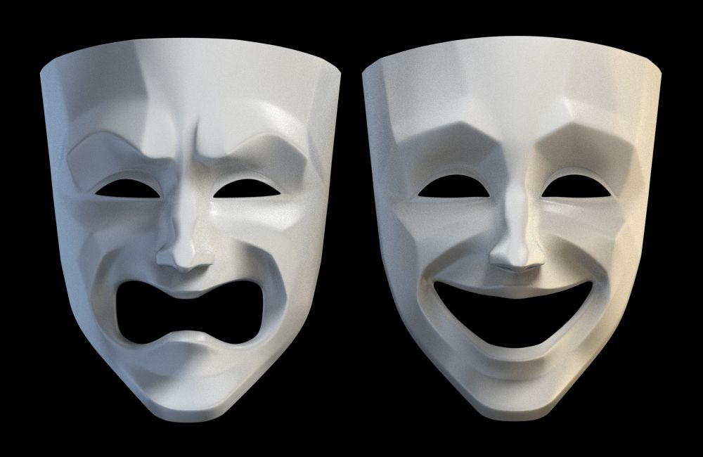 tragedy comedy theater masks 3d model in 2020 (With images ...