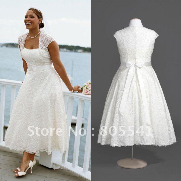 Plus size wedding dresses lace jacket love tea length for Plus size tea length wedding dresses