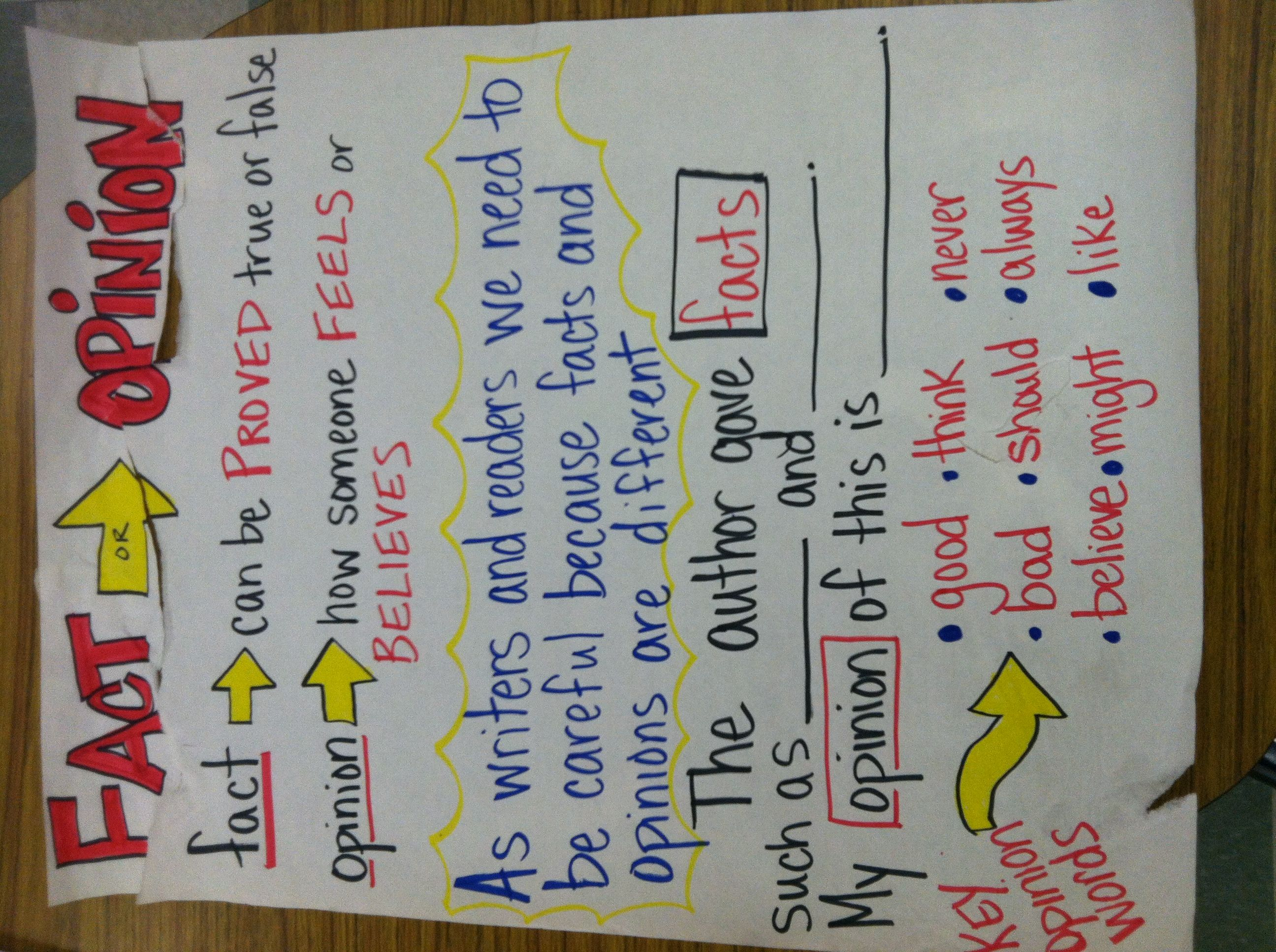 Fact And Opinion Anchor Chart Classroom Ideas Reading