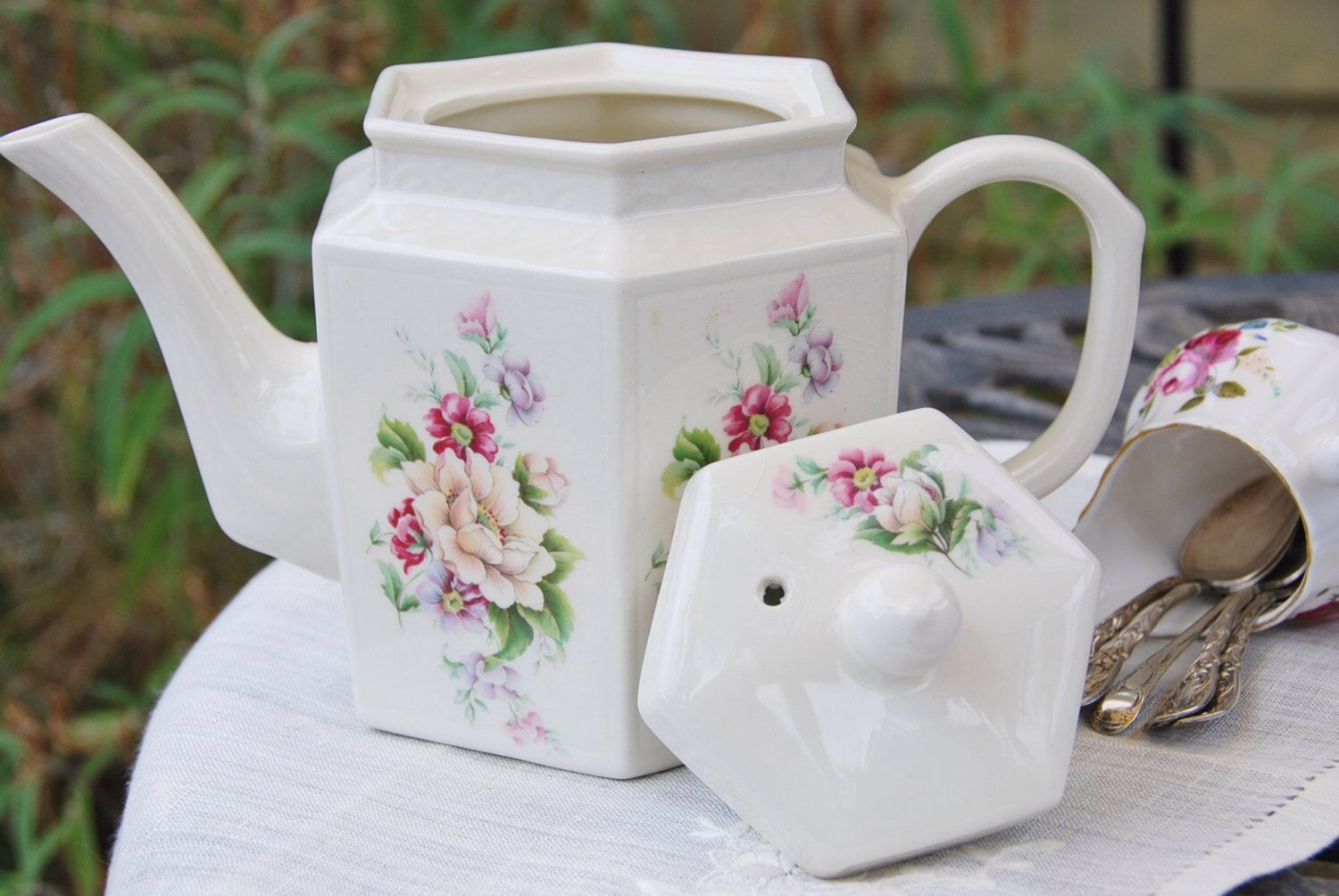 Charming ARTHUR WOOD and SONS Six-Sided Teapot, Cream and Floral, Embossed, England by DadsTeacups on Etsy https://www.etsy.com/listing/210719186/charming-arthur-wood-and-sons-six-sided