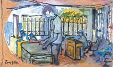 A pintura explora diferentes cores. No centro da tela há uma pessoa em pé, de perfil e voltada para o lado esquerdo, com as duas mãos sobre um aparato. Mais atrás, outra pessoa está sentada a uma mesa, com várias cadeiras atrás dela. Ao fundo, há uma grande janela.