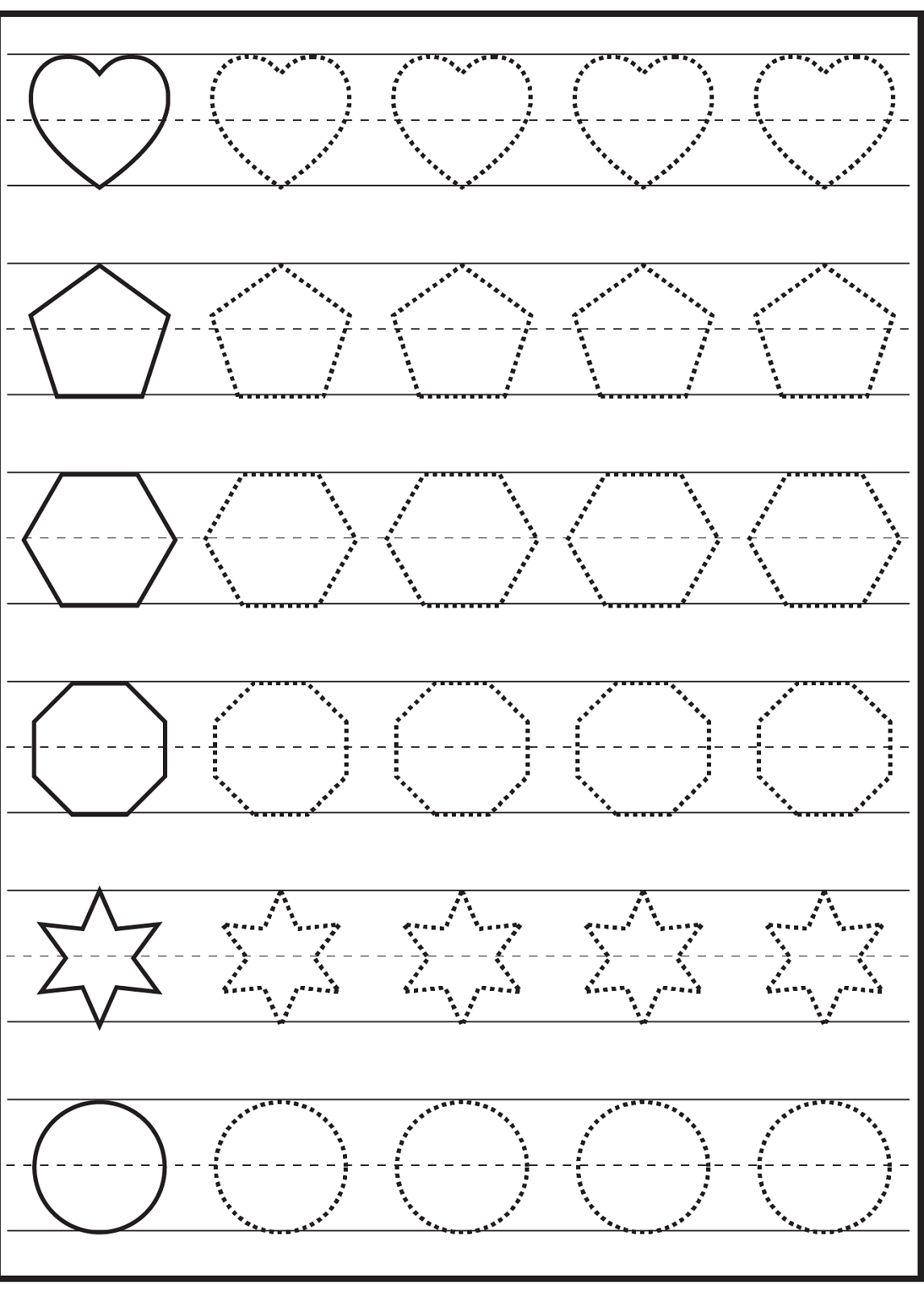 free traceable worksheets shapes Early Learning – Learning Shapes Worksheets