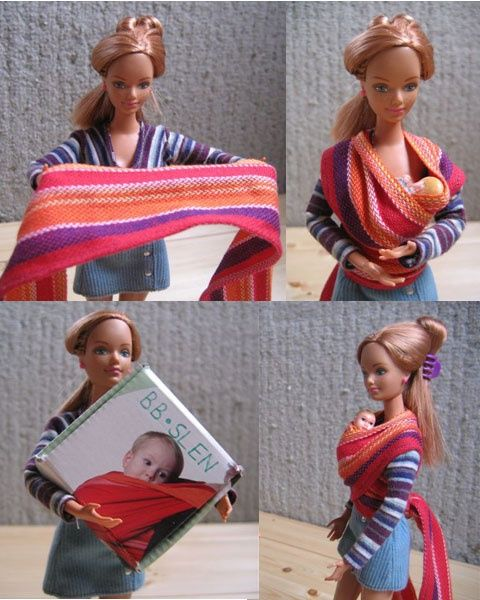 Barbie babywearing...new improved role modelling even if she still is an unreal body shape...