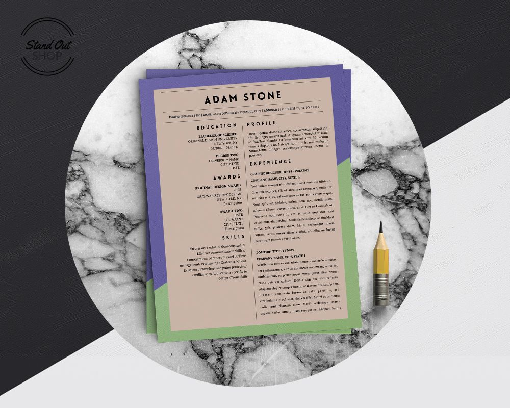 adam stone resume template