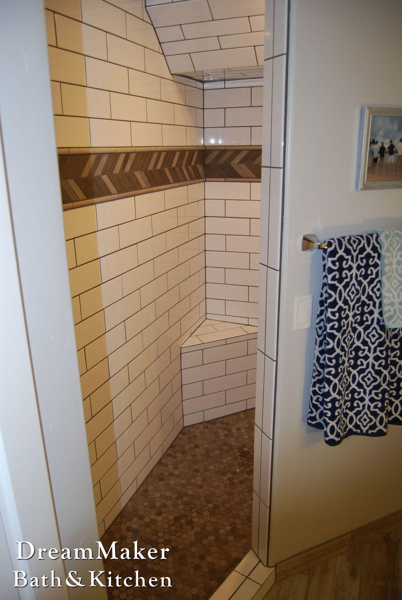 White Subway Tile Open Shower Design Brown Mosaic Tile Trim Open Showers Shower Design Bathrooms Remodel