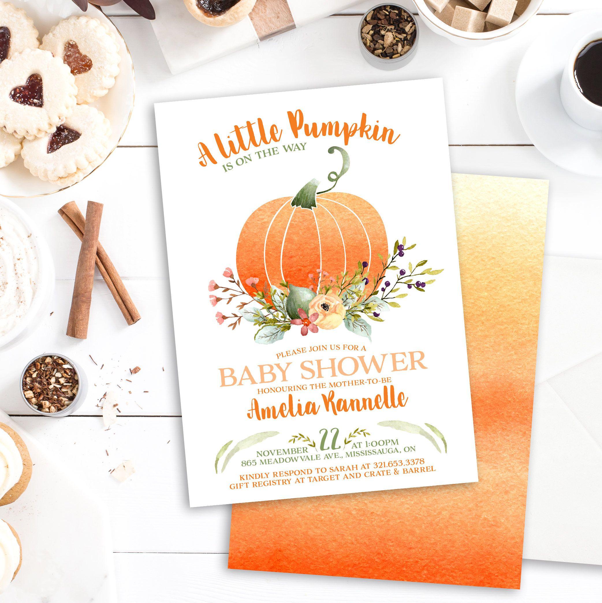 Pumpkin Baby Shower Invitation - Little Pumpkin Baby Shower - Fall ...