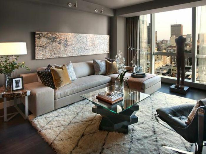 Couleur Appartement Moderne #8: 1-joli-appartement-moderne-d-esprit-contemporain-couleur-taup-egrande-fentere-table-basse-ikea-table-de-salon-en-verre.jpg  (700×525) | Meubles | Pinterest ...