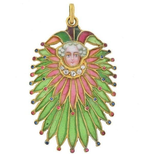 Preowned Art Nouveau Unusual Plique À Jour Gemstone Court Jester... ($3,850) ❤ liked on Polyvore featuring multiple