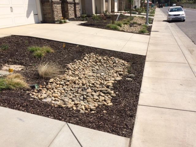 Yosemite River Cobbles Being Used For Rain Water Drainage Catch