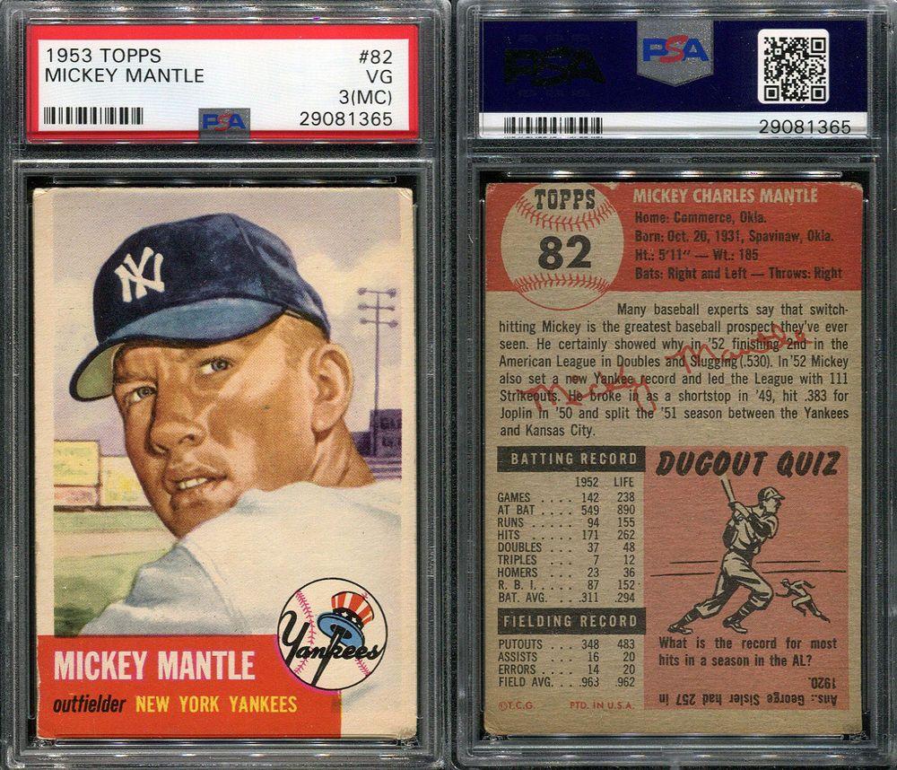 1953 Topps 82 Mickey Mantle Psa 3 Mc 1365 Mickey Mantle