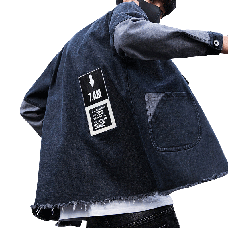 230aea21c6 2019 New Denim Jacket Men Fashion Patch Designs Chest Ribbon Jeans Jackets  Slim Fit Casual Tassels