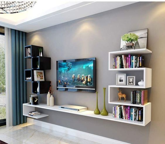 20 Outstanding Ideas For Tv Shelves To Design More Attractive Living Room Tv Room Design Living Room Tv Unit Designs Modern Tv Wall Units