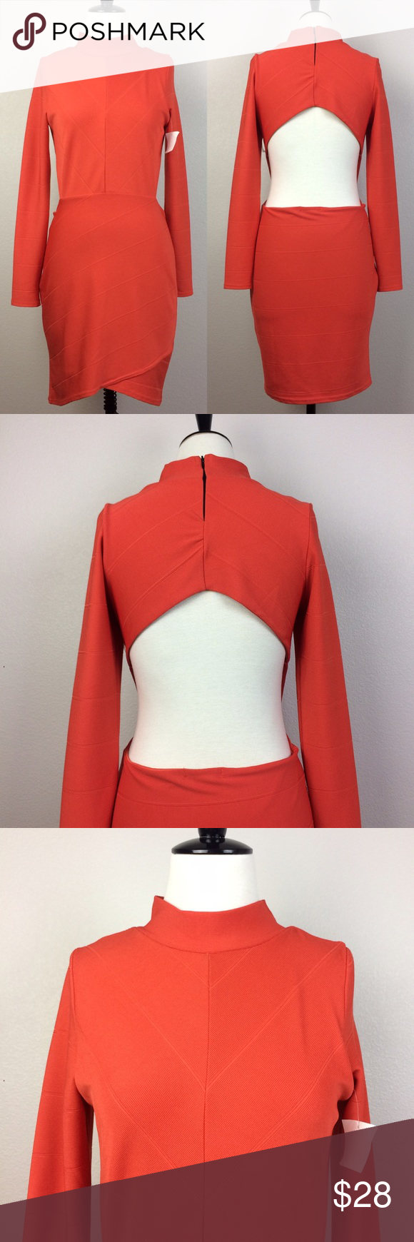 Nwt misguided red long sleeve cutout dress nwt long sleeve cutout