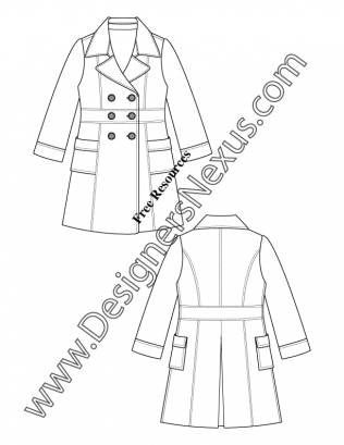 Notched Collar Double Breasted Trench Coat V13 Flat Fashion Sketch