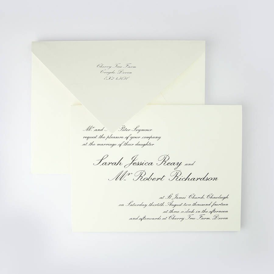 alnwick thermographed wedding invitation by piccolo ...