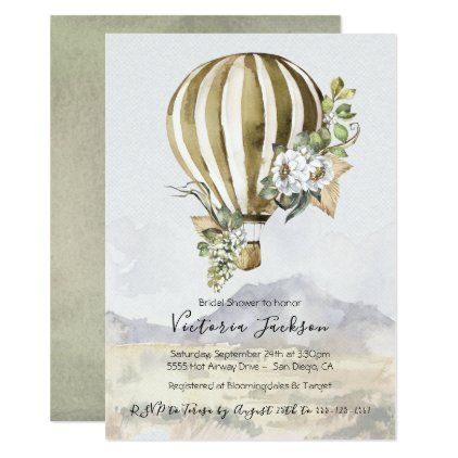 Hot Air Balloon Bridal Shower invitations | Zazzle.com