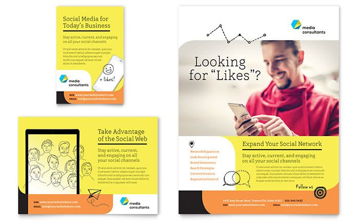 Social Media Consultant Flyer and Ad Template Design by StockLayouts