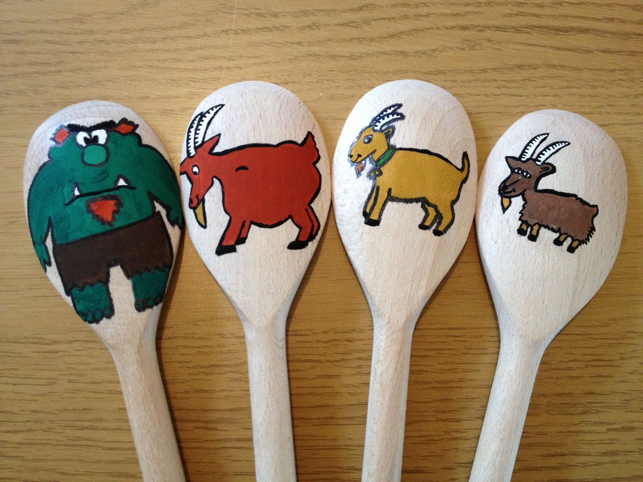 The Three Billy Goats Gruff Wooden Spoon Puppets