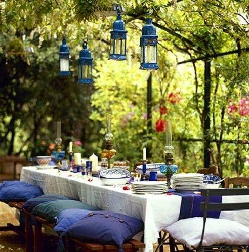 windlichter garten gestaltung tisch beleuchtung party | home, Garten Ideen