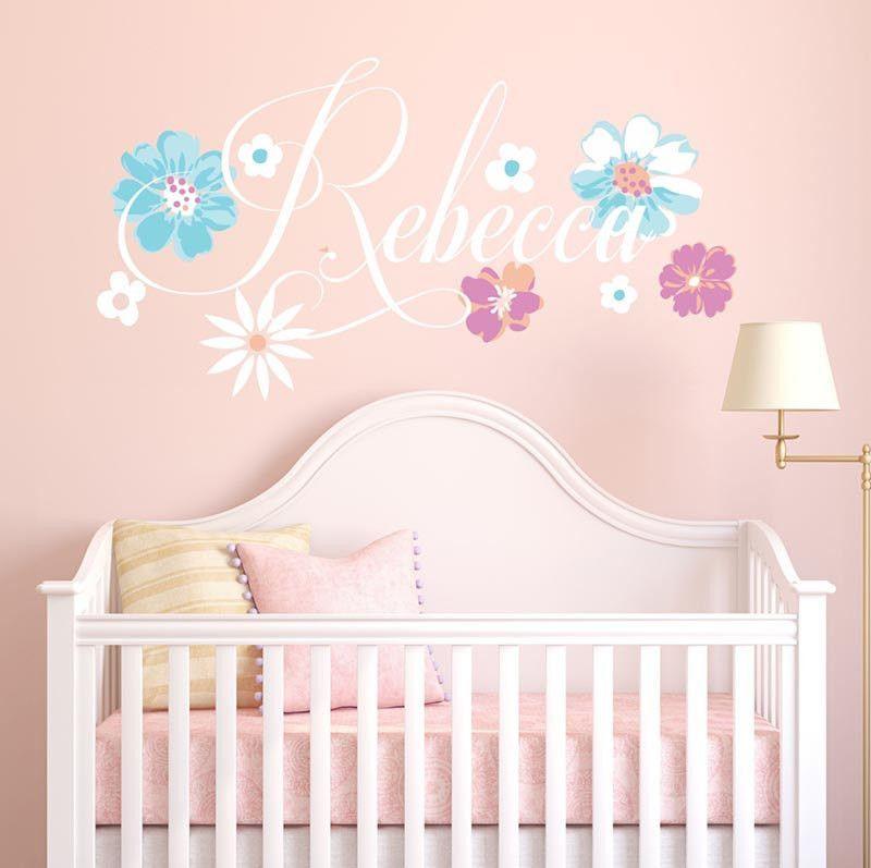 Rebecca Flower Personalized Custom Name Vinyl Wall Decal Sticker - Personalized custom vinyl wall decals for nursery