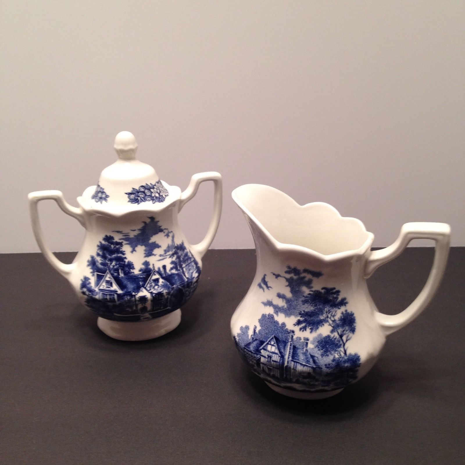 J&G Meakin Merrie England Sugar Bowl w/lid And Creamer