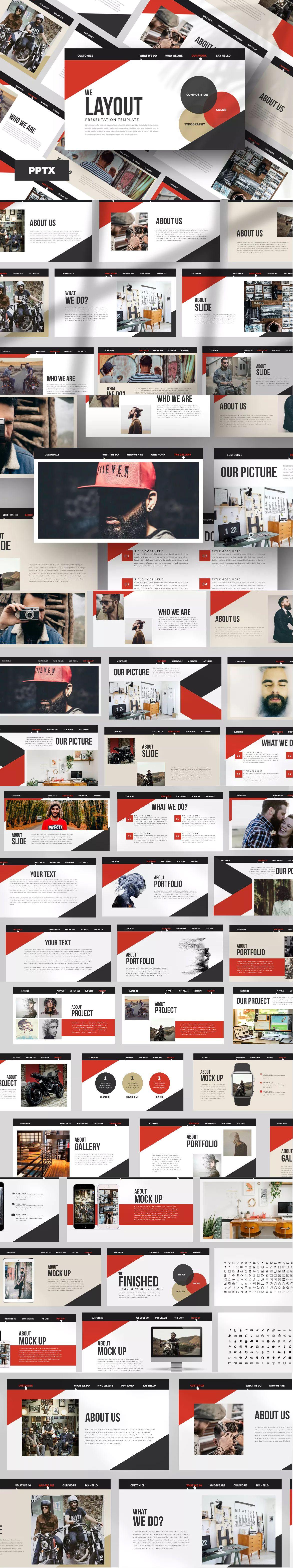 minimal layout powerpoint presentation template 50 unique slide