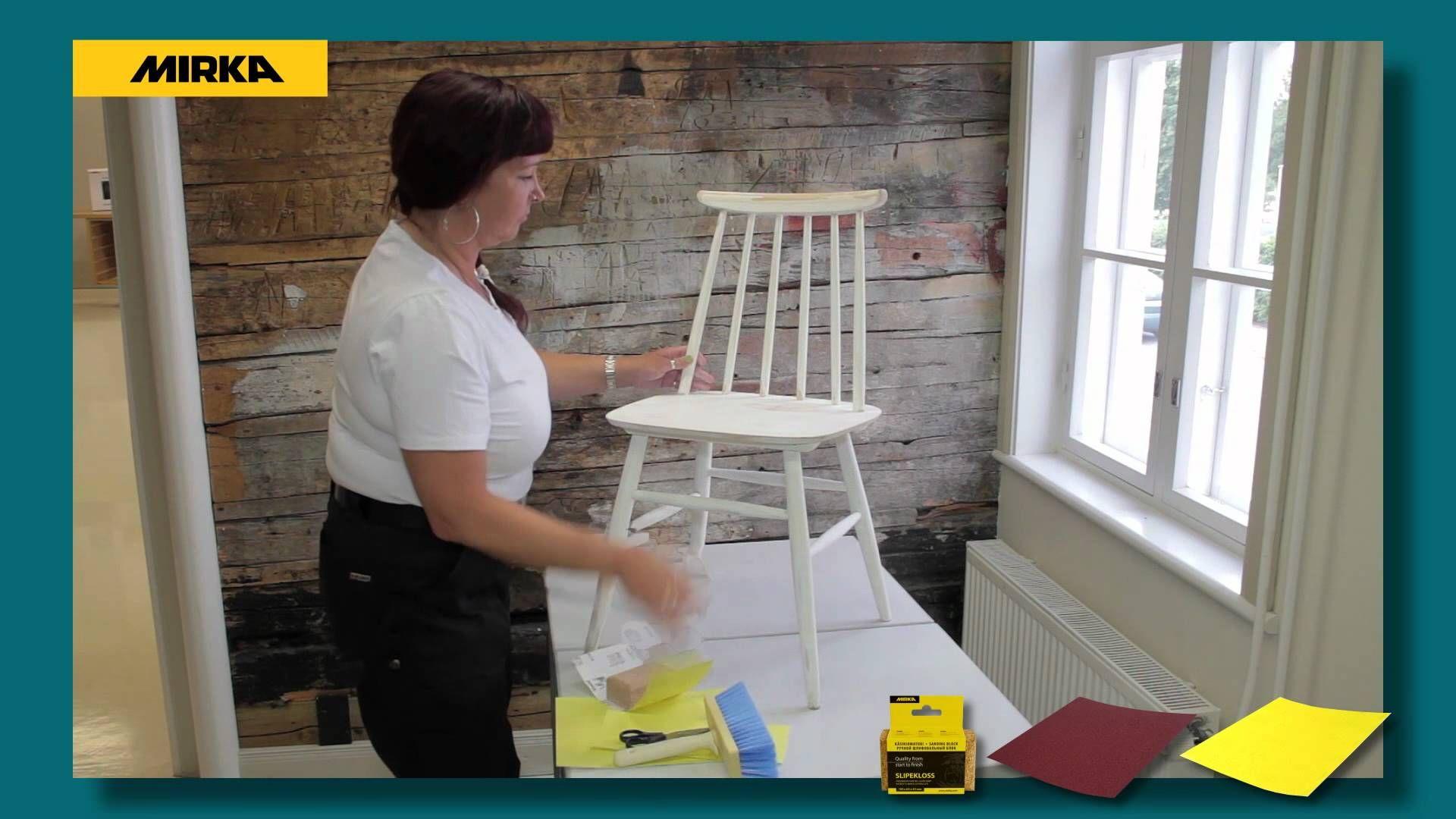 Vanhan tuolin hiominen ja maalaaminen